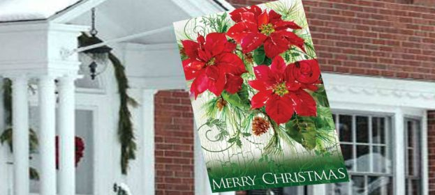 Christmas Decorative House Flags Spreading Cheer