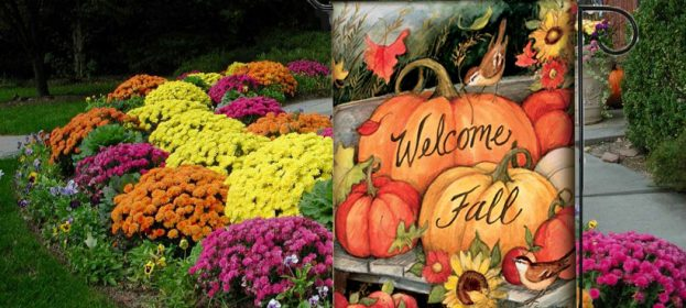 Decorative Fall Outdoor Flags by Artist Susan Winget