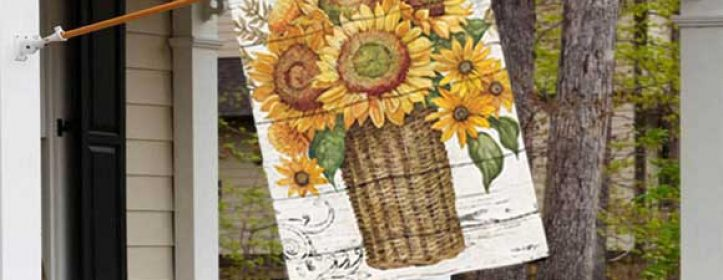 Farmhouse Sunflowers Fall Decorative Flag by BreezeArt