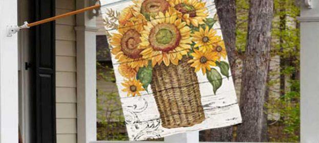 Farmhouse Sunflowers Fall Decorative Flag by BreezeArt