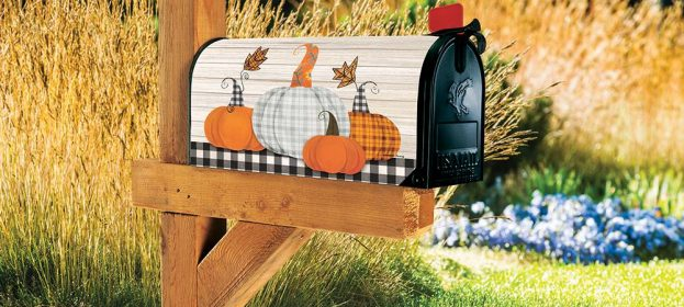Plaid Pumpkin Magnetic Mailbox Cover