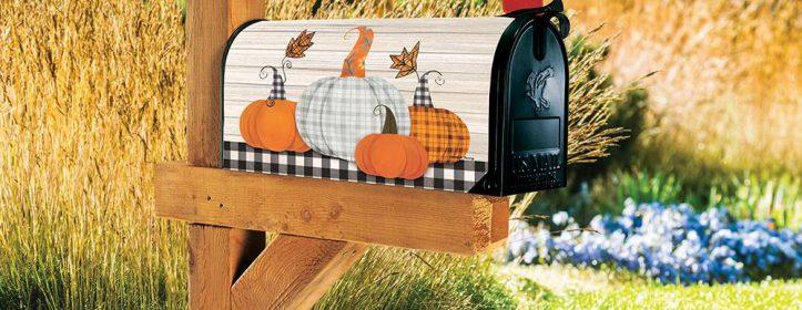 Plaid Pumpkin Magnetic Mailbox Cover