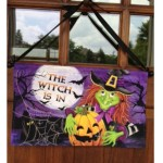 Witch Is In Halloween Door Decoration