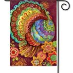 Floral Turkey Garden Flag