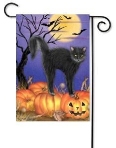 Jack-O-Lantern Kitty Flag