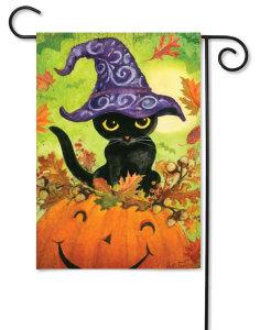 Pumpkin Kitty Halloween Garden Flag