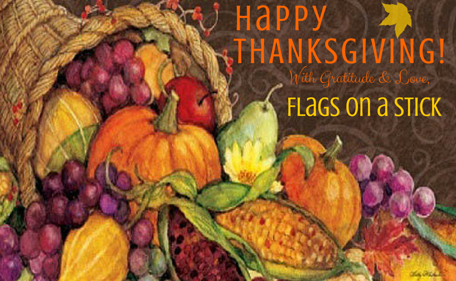 Happy Thanksgiving Flags On A Stick