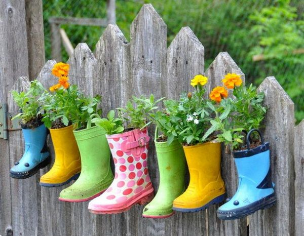 planted rain boots