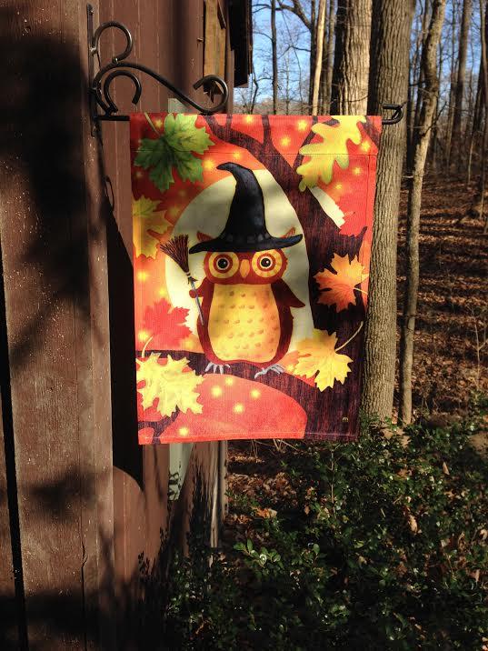 Adorable Halloween owl garden flag