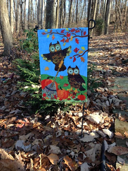 Owl decorative fall garden flag