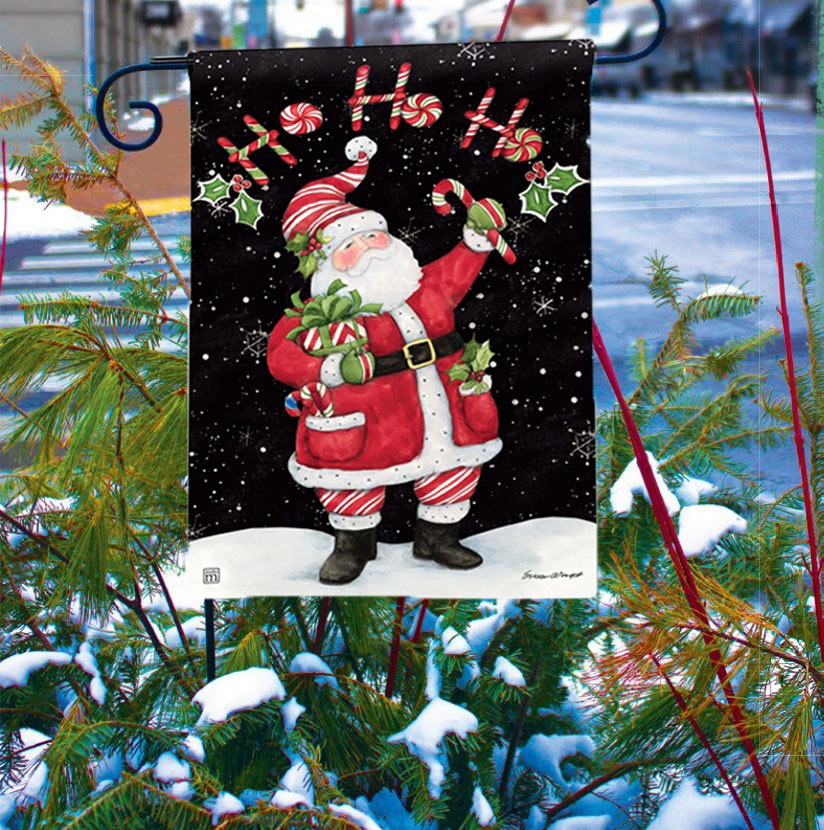 Candy Cane Santa Holiday Garden Flags