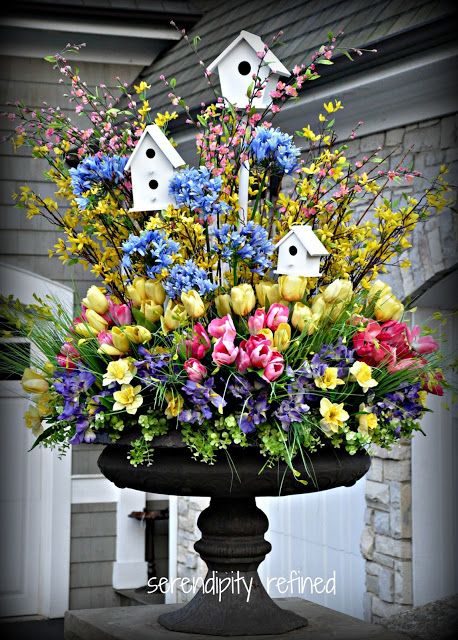 Easter Urn filled with tulips and birdhouses