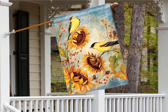 Yellow Finches Fall Decorative Flags