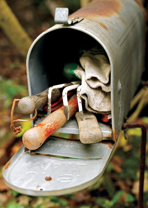Winter gardening tips - Use an old mailbox to hold garden tools