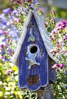 Blue Rustic Birdhouses