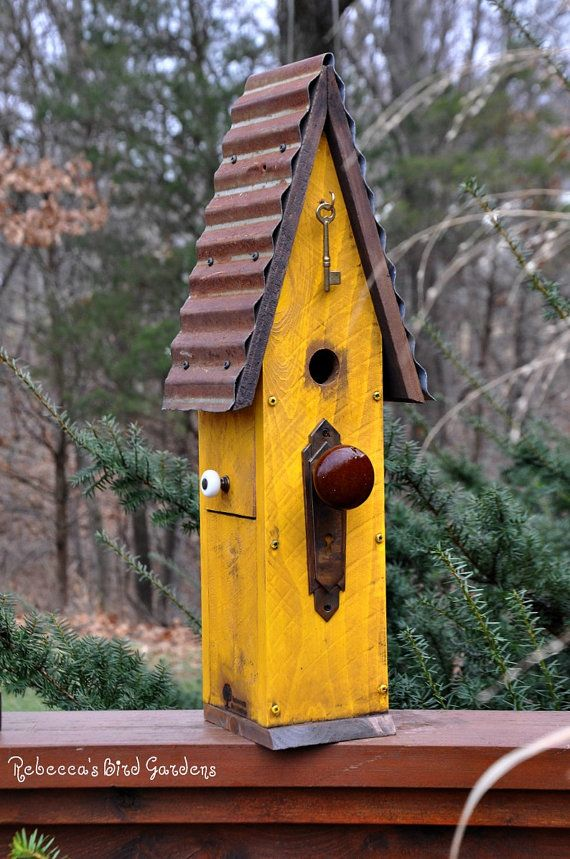 Yellow Rustic Birdhouse
