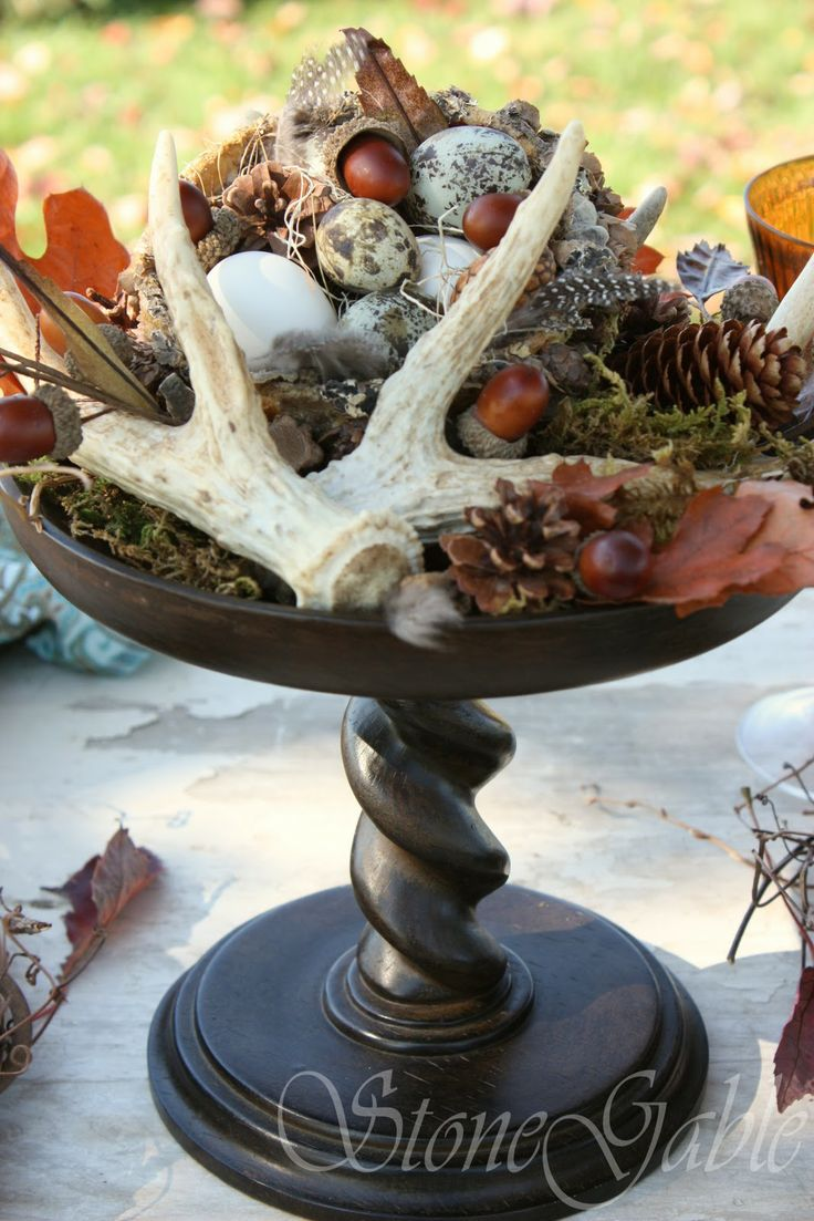 Antlers with fall decor