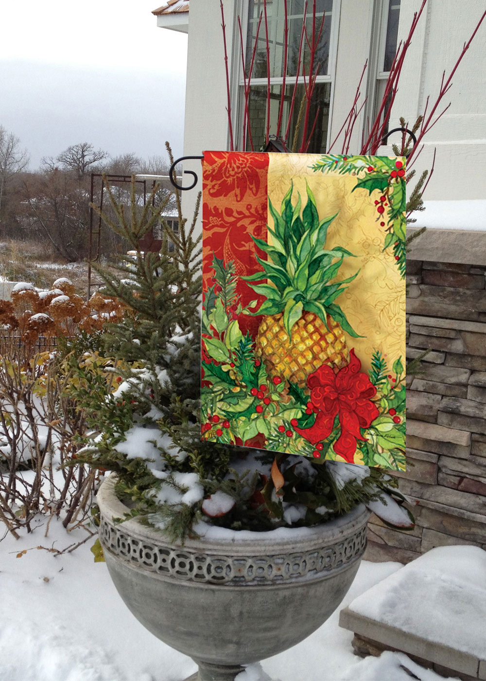Christmas Pineapple outdoor holiday garden flags