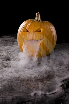 Jack-O-Lantern with dry ice makes a great Halloween decoration