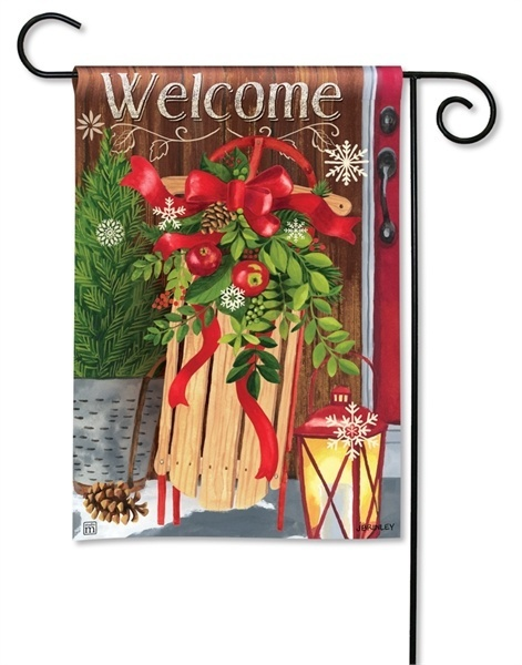 Mountain Cabin Sled Christmas Holiday Garden Flags