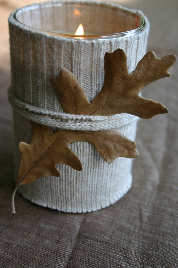 Sweater candle with fall leaf