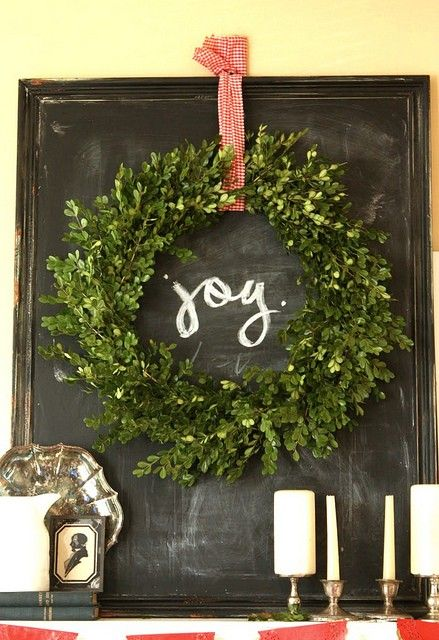 Boxwood wreath with chalkboard