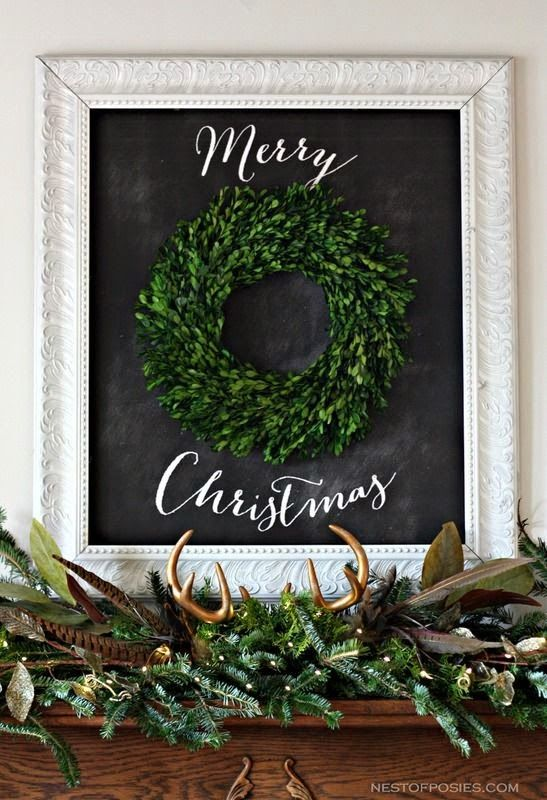 boxwood wreath with framed chalkboard