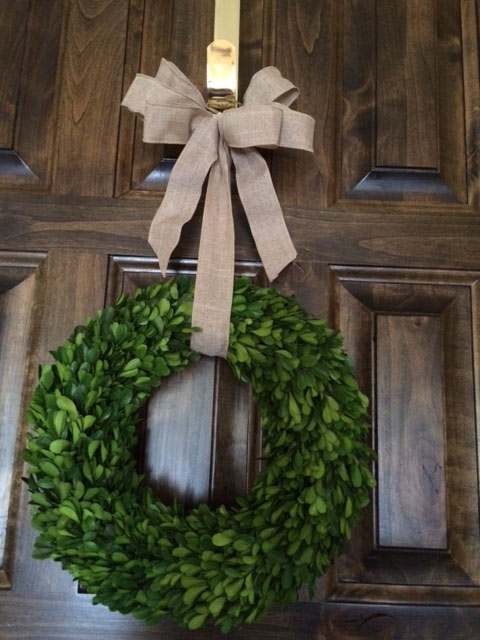 Boxwood wreath with burlap ribbon