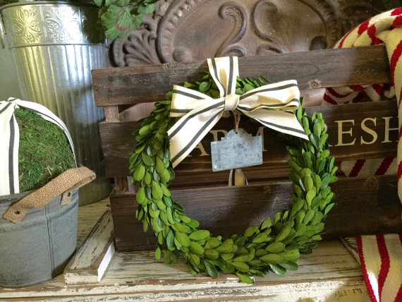 Boxwood wreath with striped ribbon