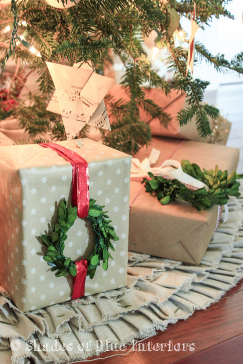 boxwood wreaths used to gift wrap presents