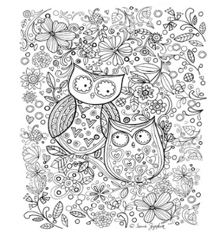 2 Owls Coloring Page by Sue Zipkin