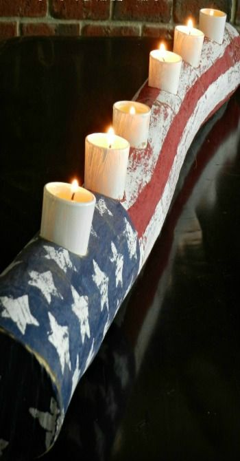 Americana Patriotic Log Candle