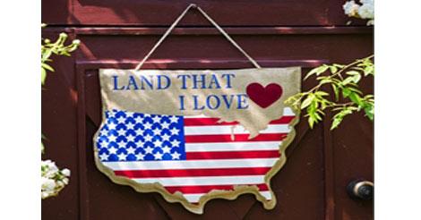Land That I Love Patriotic Door Decor www.flagsonastick.com
