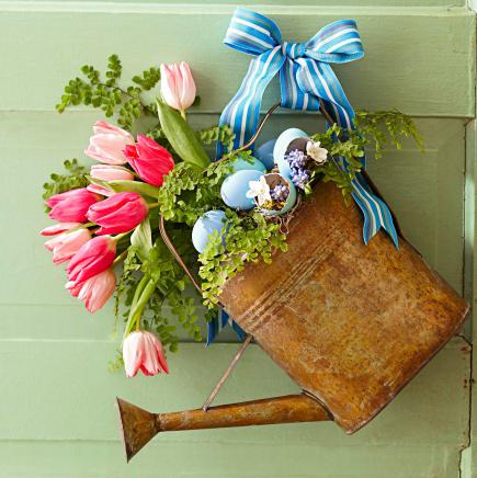 rustic watering can spring wreaths