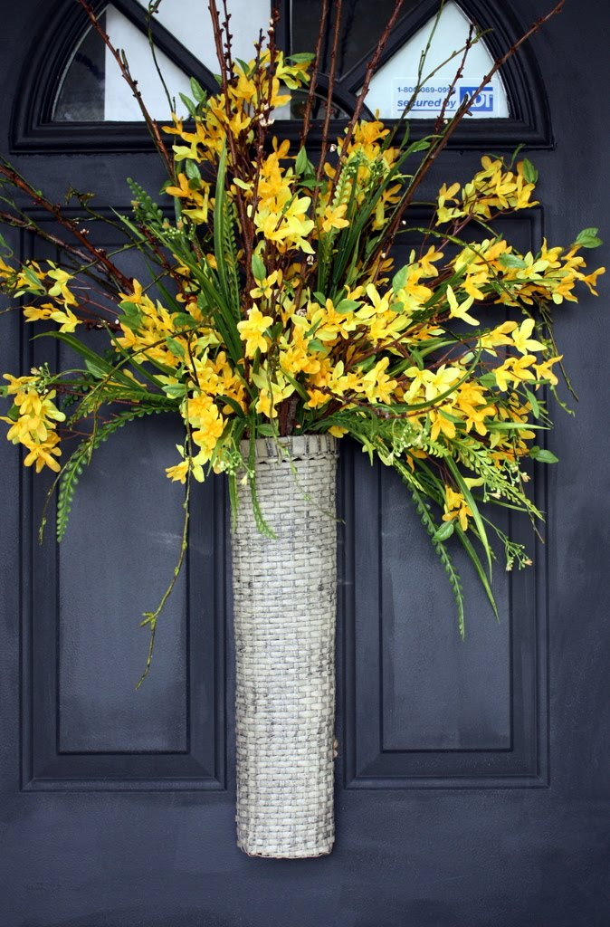spring wreaths with woven basket