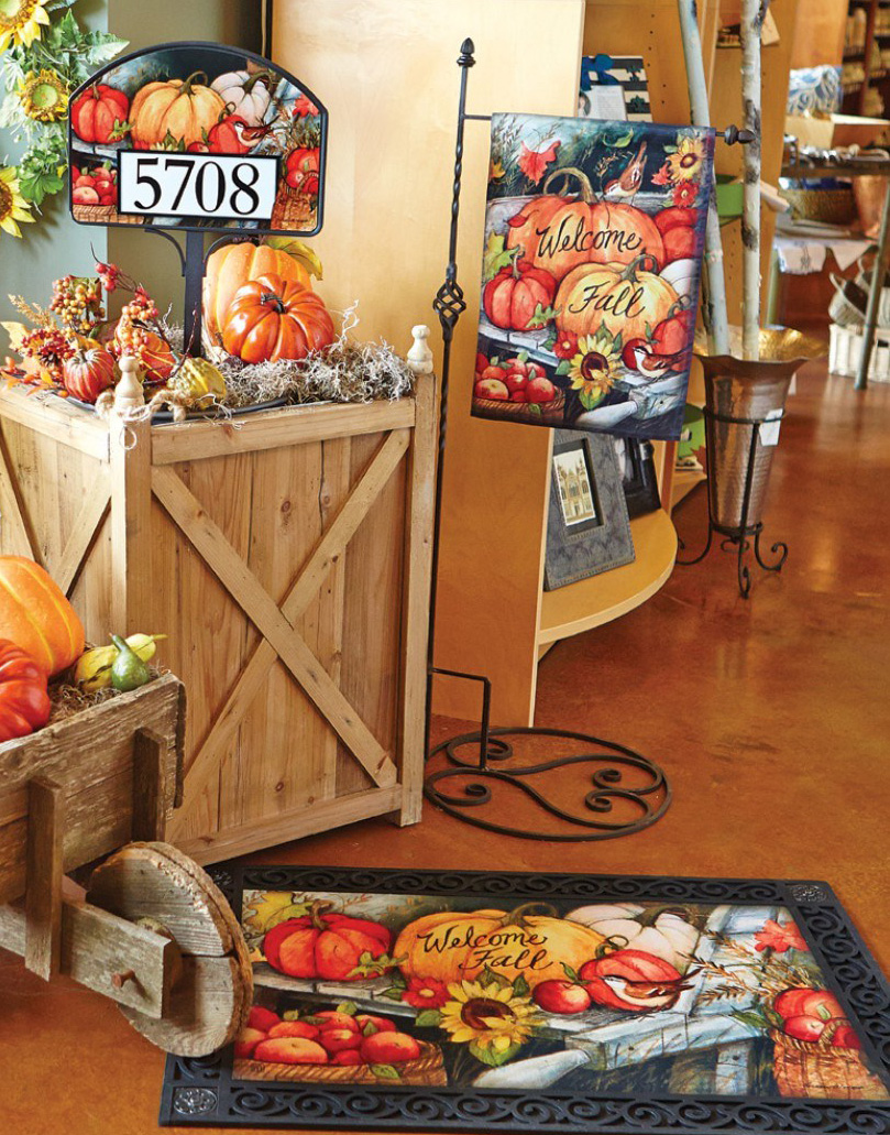 Welcome Fall Pumpkins Decorative Garden Flags, doormat and address sign