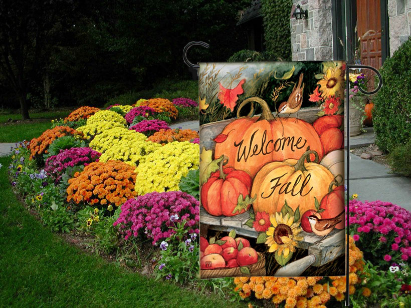 Welcome Fall Pumpkins Decorative Fall Garden Flags