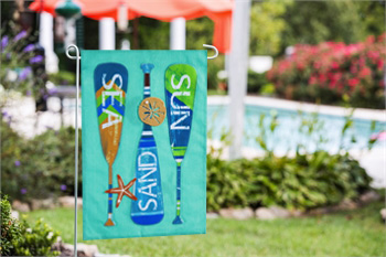 Burlap Garden Flags Seashore Oars