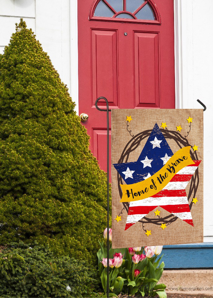 Home of the Brave Patriotic Burlap Garden Flags