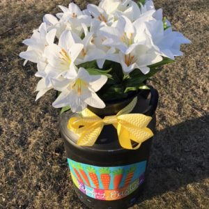 Easter Lilies in Decorated Milk Can