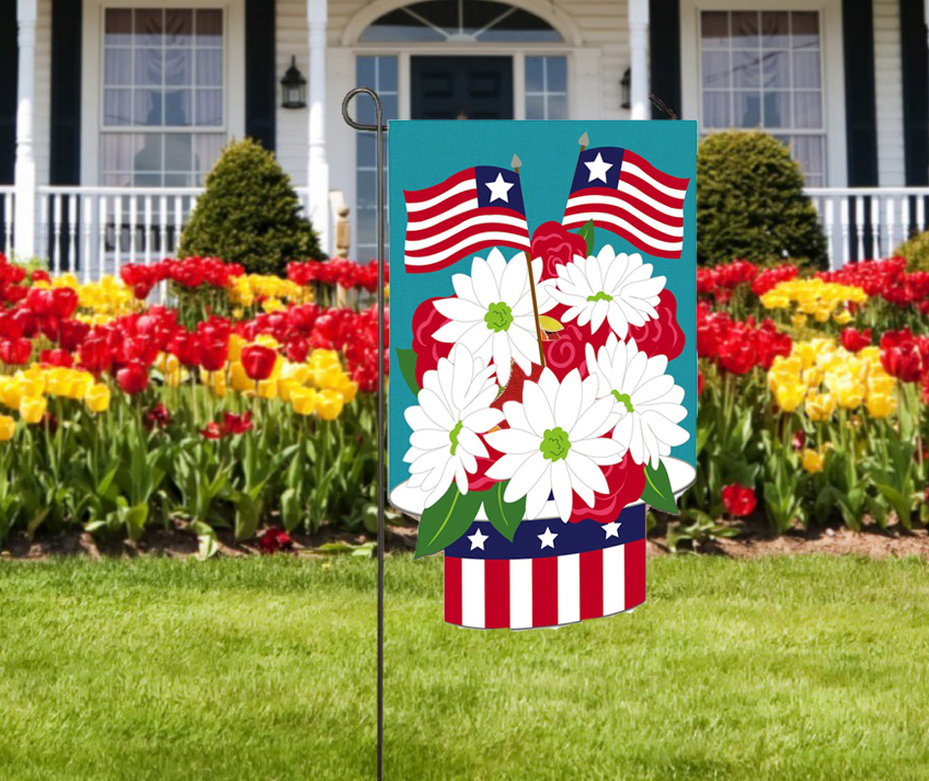 Patriotic Hat Burlap Garden Flags