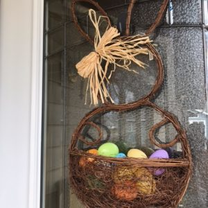 Twig Bunny Door Decor with Eggs