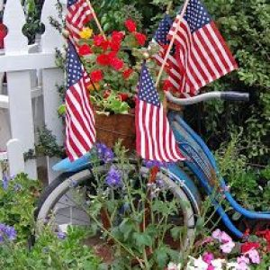 patriotic summer yard flags and bicycle