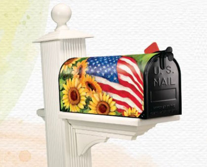 American Sunflowers Patriotic Mailbox Covers Flags On A Stick