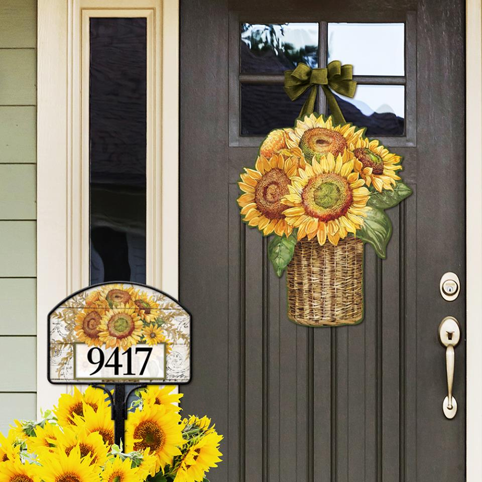 Farmhouse Sunflower Door Decor and Address Sign