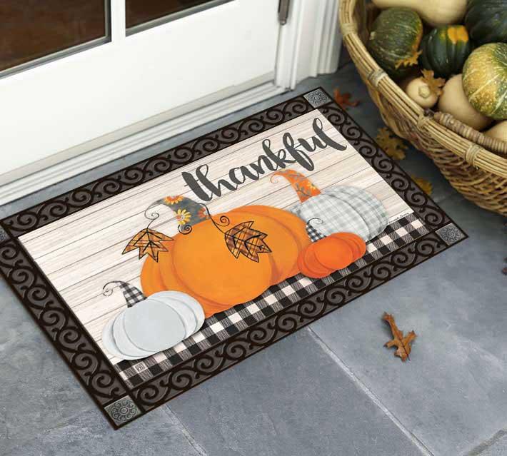 Plaid Pumpkins Door Mat