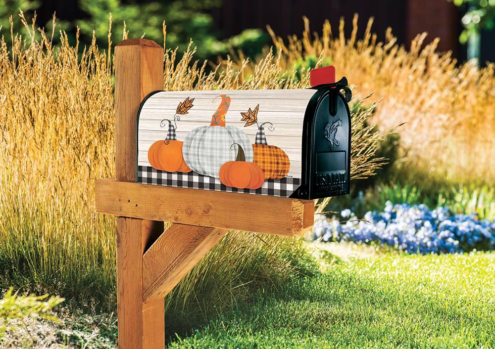 Plaid Pumpkins Magnetic Mailbox Cover