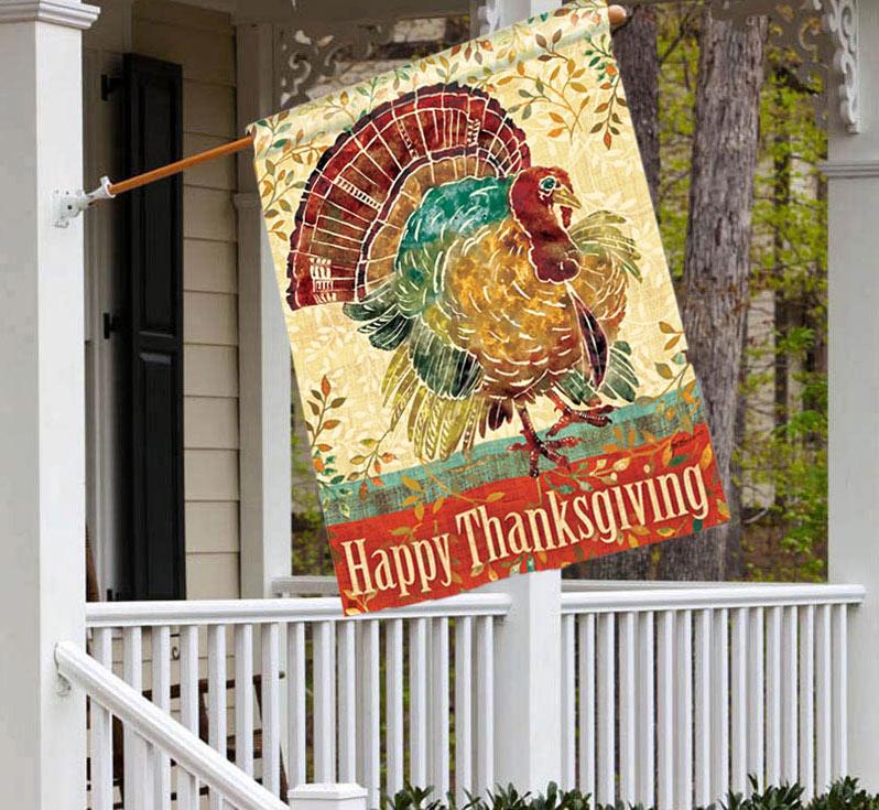Wild Turkey Thanksgiving House Flag